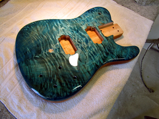 Stained Aqua over Quilt Maple